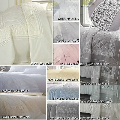 Embroidered Or Laced Decorative Throw Throwovers Quilted Lightly Quilted Modern • 27£