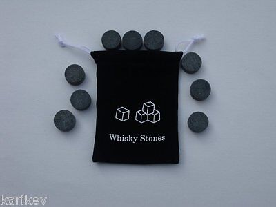 £4.25 • Buy 9pcs Whisky Rocks Ice Stones Drinks Cooler Disc Cube Whiskey Scotch & POUCH
