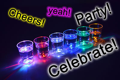 Aquaglow LED Light Up Illuminated Shot Glasses Liquid Activated A Party Must • 8.99£
