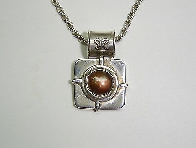 $59.99 • Buy Bronze Colored Mabe Pearl Pendant Necklace In Sterling Silver 17  326-x