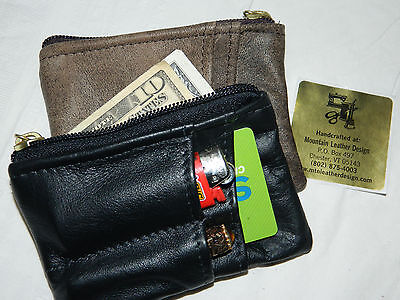 $22 • Buy LEATHER Zip Zippered Coin Change Card Pouch Purse Mission Wallet Handmade USA