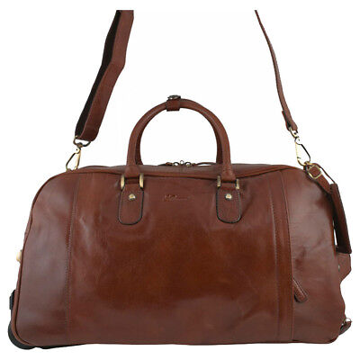 Leather Wheeled Travel Holdall With Detachable Shoulder Strap Hard Wearing • 189.95£