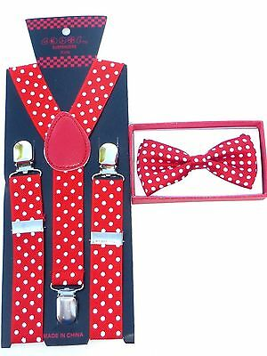 $8.88 • Buy Red With White Polka Dots Toddler Bow Tie And Suspenders Set Baby Boy Girl