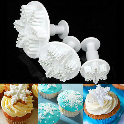 £1.34 • Buy 3pcs Snowflake Biscuit Cookies Cake Fondant Decorating Cutter Plunger Mold Mould