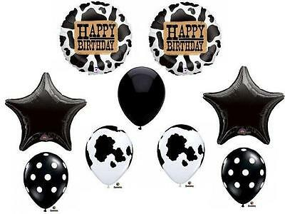 AU18.04 • Buy COW Print Birthday Balloons Decoration Supplies Party Farm Tractor Cowgirl