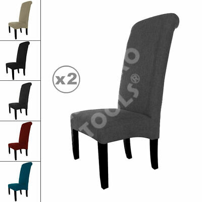 £72.99 • Buy 2 New Linen Fabric Dining Chairs Roll Top Scroll High Back Cushioned Seat