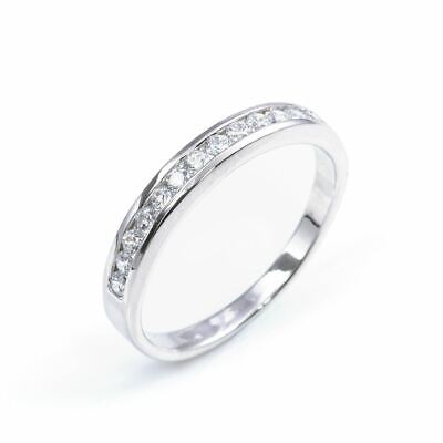 Silverly .925 Sterling Silver CZ Half Eternity Engagement Wedding Ring • 23.49£