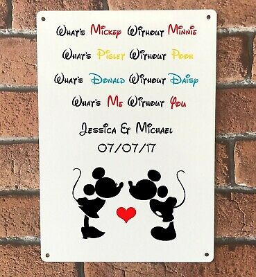 Disney Sign Personalised Mickey Minnie Mouse Wedding Engagement Anniversary Gift • 8.95£