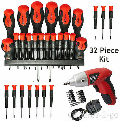 View Details 32Pc Screwdriver Tool Set Precision Phillips Torx Pozi Slotted + Cordless Driver • 19.99£