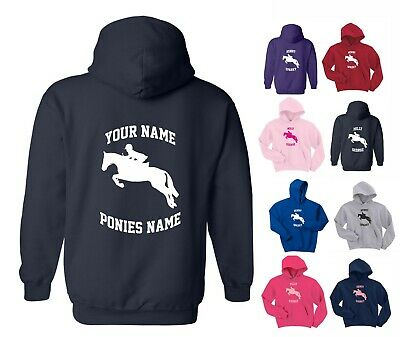 PERSONALISED KIDS / CHILD'S HOODY, SHOW JUMPER DESIGN, 3-15 Years HORSE / PONY • 17.50£