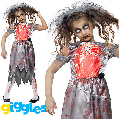 Girls Zombie Bride Costume Dead Bloody Corpse Scary Halloween Fancy Dress Outfit • 12.17£