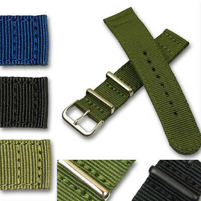 £9.95 • Buy Nylon Military Army Style Watch Strap Band HARD WEARING Blue Green Black Buckle