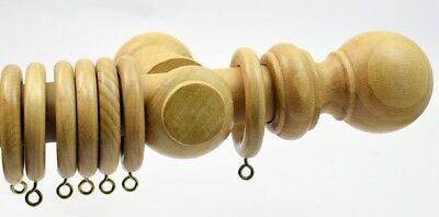 28mm Dia OAK Finish Wooden Curtain Poles. 1.2 Or 1.8 Or 3.0m. Ball Finial NEW • 13.95£