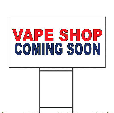 $ CDN37.10 • Buy Vape Shop Coming Soon Red Blue Corrugated Plastic Yard Sign /Free Stakes