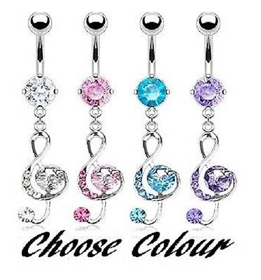 £3.48 • Buy New Stunning Crystal Treble Clef Dangle Belly Bar Music Note Piercing (F44L)