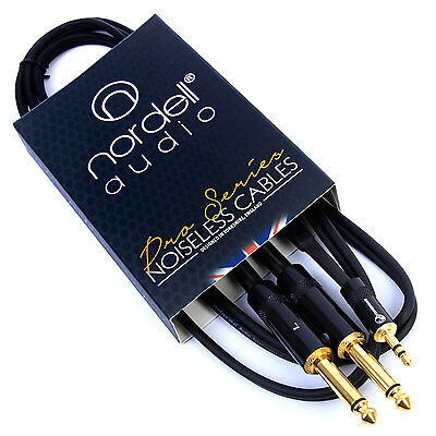 2 X 1/4  Mono TS Jack (Pair) To 3.5mm Stereo Mini TRS Jack Audio Cable 1.5m 5ft • 9.95£
