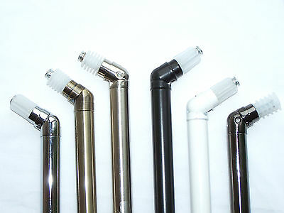 19mm Bay Window Curtain Pole Corner Bend Joint Elbow Brass Silver Black White Ch • 6.85£