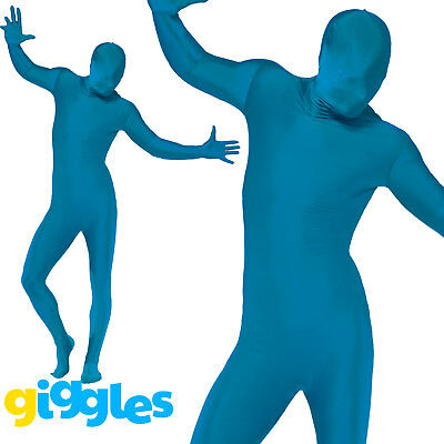Mens Second Skin Blue Bodysuit Full Body Lycra Fancy Dress Party Costume Outfit • 13.45£
