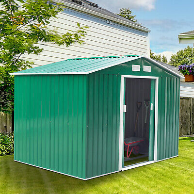 Outsunny 9x6ft Garden Shed Outdoor Foundation Storage Unit Metal Tool Box Green • 239.99£