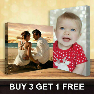 Personalised Photo On Canvas Print Framed A0 A1 A2 A3 A4 A5 Ready To Hang • 9.99£