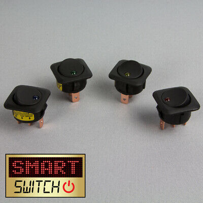 4 X SmartSwitch 12v/25A Illuminated LED Square Panel Switch Rocker Switch • 4.99£