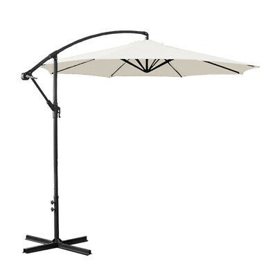 3M Cream Garden Banana Parasol Sun Shade Patio Cantilever Umbrella Black Cover • 89.99£