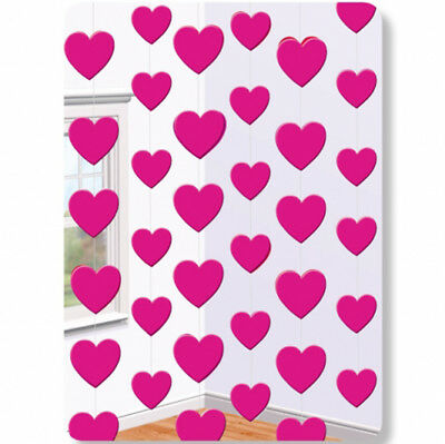 6 X 7ft Pink Love Hearts Hanging String Party Decorations Engagement Wedding  • 3.25£
