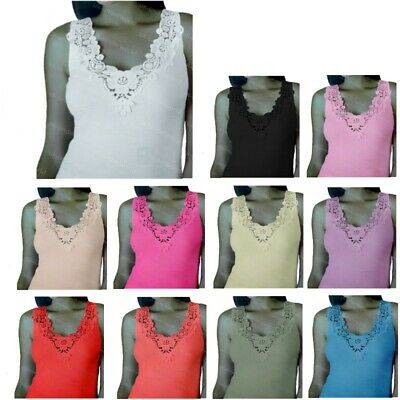 £4.49 • Buy Ladies Plain Cotton Wide Strap Vest Top Lace Trim Neck Design Cami Tank Camisole