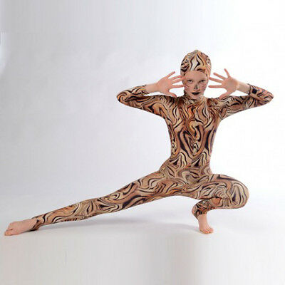 IN STOCK Tiger Print Long Sleeve Zip Back Dance Cats Catsuit Adult Medium Size 4 • 41.99£