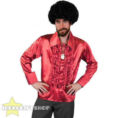 £11.99 • Buy Mens Red 1970's Disco Ruffle Shirts Adults Fancy Dress Costume 70's Frilly Top