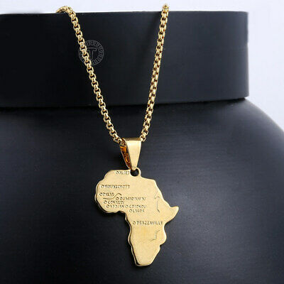 $7.19 • Buy 18 -30  Men Women Gold Filled Africa Map Pendant Necklace Stainless Steel Chain