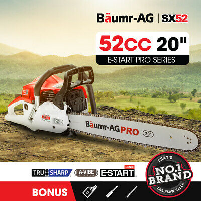 AU119 • Buy BAUMR-AG 52cc Petrol Commercial Chainsaw 20  Bar E-Start Chain Saw