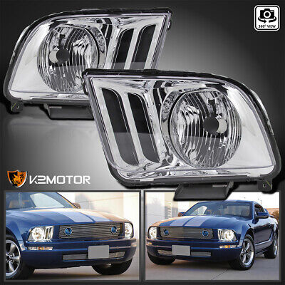 $68.76 • Buy For 2005-2009 Ford Mustang Crystal Clear Headlights Head Lamps Left+Right Pair