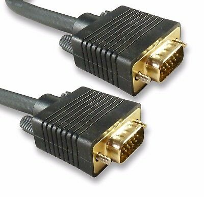 Quality Gold 2m SVGA Cable / VGA PC / Laptop  TV Video Monitor Lead 15 Pin • 8.44£