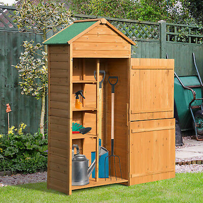 Outsunny 90x50cm Wooden Garden Shed Outdoor Shelves Utility Tool Storage Cabinet • 139.99£