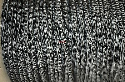 1 Meter Of Black Twisted Vintage Lamp Cable Flex Wire 3 Core Thin Anglepoise T1 • 3.99£
