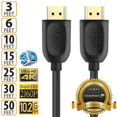 $ CDN12.61 • Buy HDMI 3 6 10 15 25 30 50 FT 1.4 4K 3D HDTV PC Xbox ONE PS4 High Speed Cable Plug