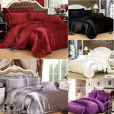 AU39.60 • Buy 7pc Satin Bedding Sets = Duvet Cover + Fitted Sheet + 4 Pillow Cases + Cushion