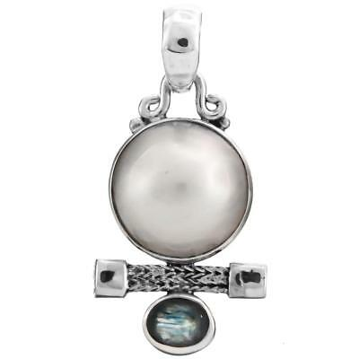 $14.95 • Buy CLEARANCE! 1  SPINEL WHITE MABE PEARL 925 STERLING SILVER Pendant