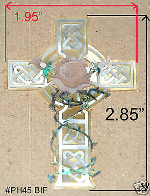 PH45# Triquera Cross W Rose Inlay Abalone, White, Gold Mother Of Pearl • 24.04£