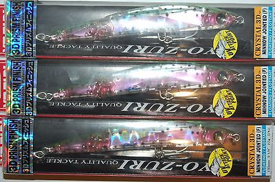 3 Lures Yo Zuri Crystal 3d Minnow Jointed Floatin 5 1/4  F1051-hnm Rainbow Trout • 22.38£