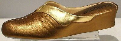 £37.95 • Buy Wedge Leather Spanish Slippers 2 Tone Copper Gold Footloose By Relax Comfort