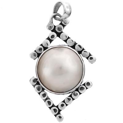 $21.95 • Buy SALE! 1 9/16  WHITE MABE PEARL 925 STERLING SILVER Pendant