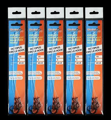 AU9.03 • Buy 5 Packs Of 6 Masterpro Pre Tied / Snelled Octopus Circle Hooks Size 1/0-4/0