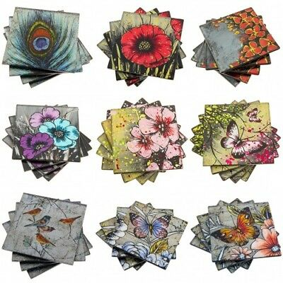Set 4 Beautiful Glass Drinks Coasters Butterfly Birds Poppy Various Designs  • 8.95£