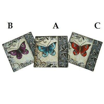 Set 4 Clematis Butterfly Glass Coasters Various Colours Purpley Pink Aqua 30308 • 8.95£