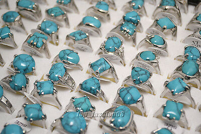 $ CDN6.41 • Buy Wholesale Jewelry Lots 10pcs Women's Turquoise Silver Plated Rings Free Shipping