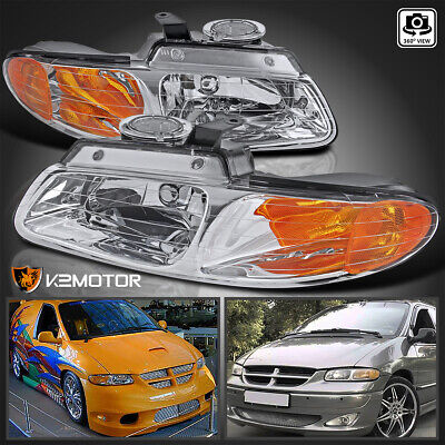 $65.38 • Buy 1996-2000 Dodge Caravan Chrysler Town & Country Voyager Crystal Clear Headlights