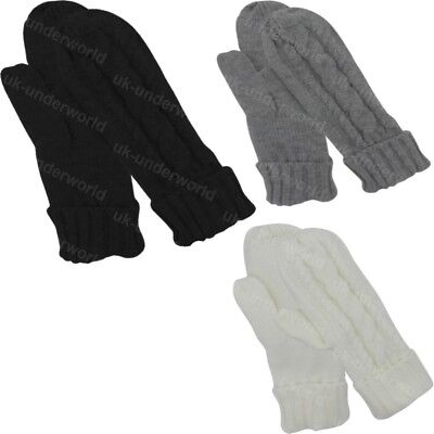 £3.99 • Buy Ladies Cable Knitted Thermal Insulation Lined Mittens Soft Warm Winter Gloves