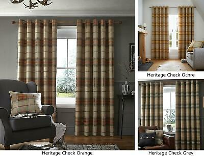 Catherine Lansfield Brushed Heritage Check Modern Eyelet/ Ring Top Curtains New • 41.99£